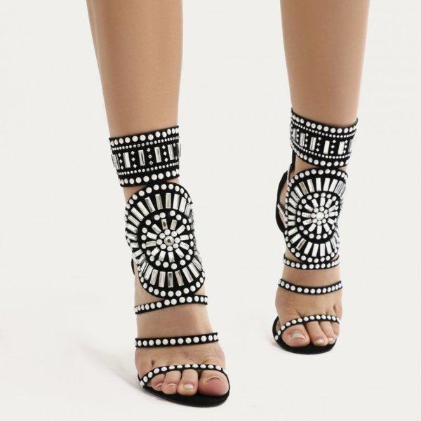 Черни сандали с перли и кристали KLEOPATRA